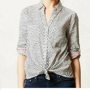 ANTHROPOLOGIE HOLDING HORSES BUTTON DOWN TOP